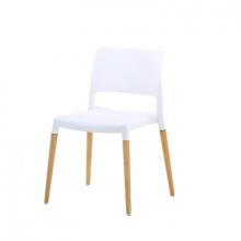 Scaun din plastic cu spate plat, picioare din lemn, alb