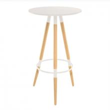 Masă-bar rotundă din MDF şi picior din lemn, 600x1050 mm, alb