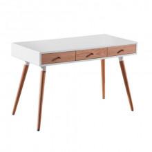 Comodă din lemn cu suprafaţa albă, 3 sertare şi picioare din lemn,1250x590x100.5 mm/780x90x180