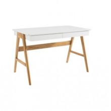 Comodă din lemn cu suprafaţa albă şi picioare din lemn, 1240.5x740.5x100.5 mm