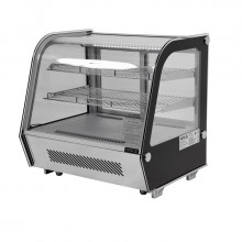 Vitrină frigorifică, temp. 0 + 12°C, 680x560x660 mm, capacitatea 120L, lumini LED, argintiu