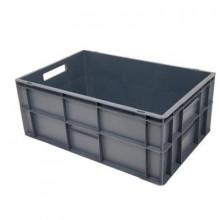 Ladă din plastic cu capac 600x400x270 mm, gri