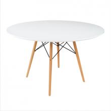 Masă rotundă cu suprafaţa din MDF, picioare din lemn 1000x1080x120 mm, diametru 100, alb