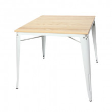 Masă din lemn cu picioare metalice 800x800x760 mm, alb