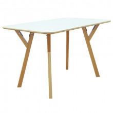 Masă dreptunghi din lemn, picioare de lemn şi suport din metal 800x1200x750 mm, alb