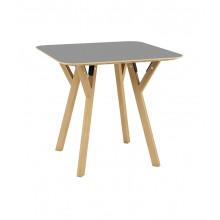Masă pătrată din lemn cu picioare din lemn şi suport din metal 800x800x750 mm, gri