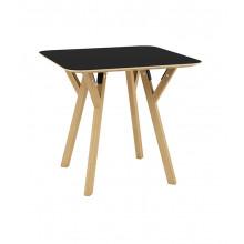 Masă pătrată din lemn cu picioare din lemn şi suport din metal 800x800x750 mm, negru