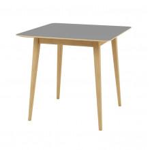 Masă cu suprafaţă şi picioare din lemn, 800x800x750 mm, gri