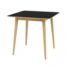 Masă cu suprafaţă şi picioare din lemn, 800x800x750 mm, negru
