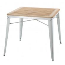 Masă cu suprafaţa din lemn şi picioare metalice de culoare albă, 800x800x720 mm