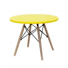 Măsuță pentru copii, din lemn cu suport metalic, galben