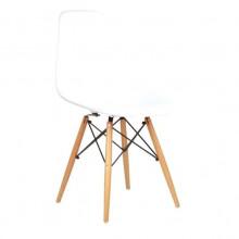 Scaun din plastic pentru copii, cu picioare din lemn și suport metalic, 420x400x330 mm, alb