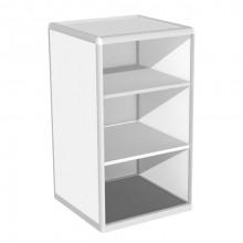 Vitrină de perete-colţ şi friz B0, 500x1210x2000 mm, 5 poliţe de sticlă, fără bază