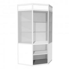 Vitrină de perete-colţ cu friz şi spaţiu de depozitare B2, 500x1210x1800 mm, 2 poliţe din sticlă şi 1 poliţă din PAL