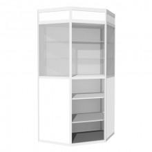 Vitrină de perete-colţ cu friz şi spaţiu de depozitare B3, 600x1350x2000 mm, 2 poliţe sticlă, 2 poliţe PAL