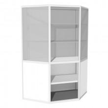 Vitrină de perete-colţ cu friz şi spaţiu de depozitare B2, 500x1210x1500 mm, 2 poliţe sticlă, 1 poliţă PAL